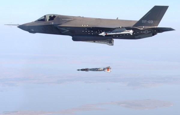 An F-35B test dropping a bomb.