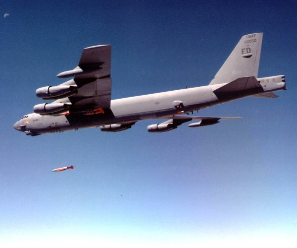 A B-52H Stratofortress from the 419th Flight Test Squadron from Edwards Air Force Base, Calif., releases a Joint Direct Attack Munition during a recent test. (Air Force photo)