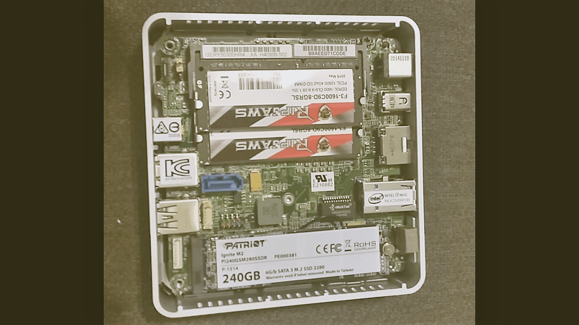 Inside the NUC 5i5RYK, once fully populated. G.Skill low-latency memory helps with graphics performance, while M.2 SATA is a beast for OS drive, with 2x the performance of regular SATA Drives.