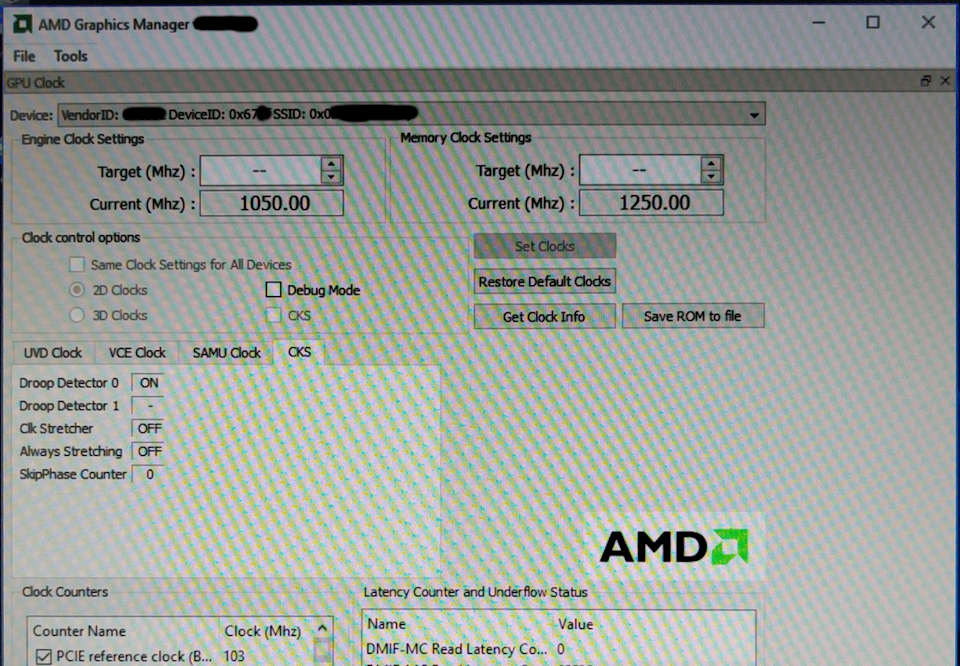 AMD Graphics Manager showing Polaris 10 GPU