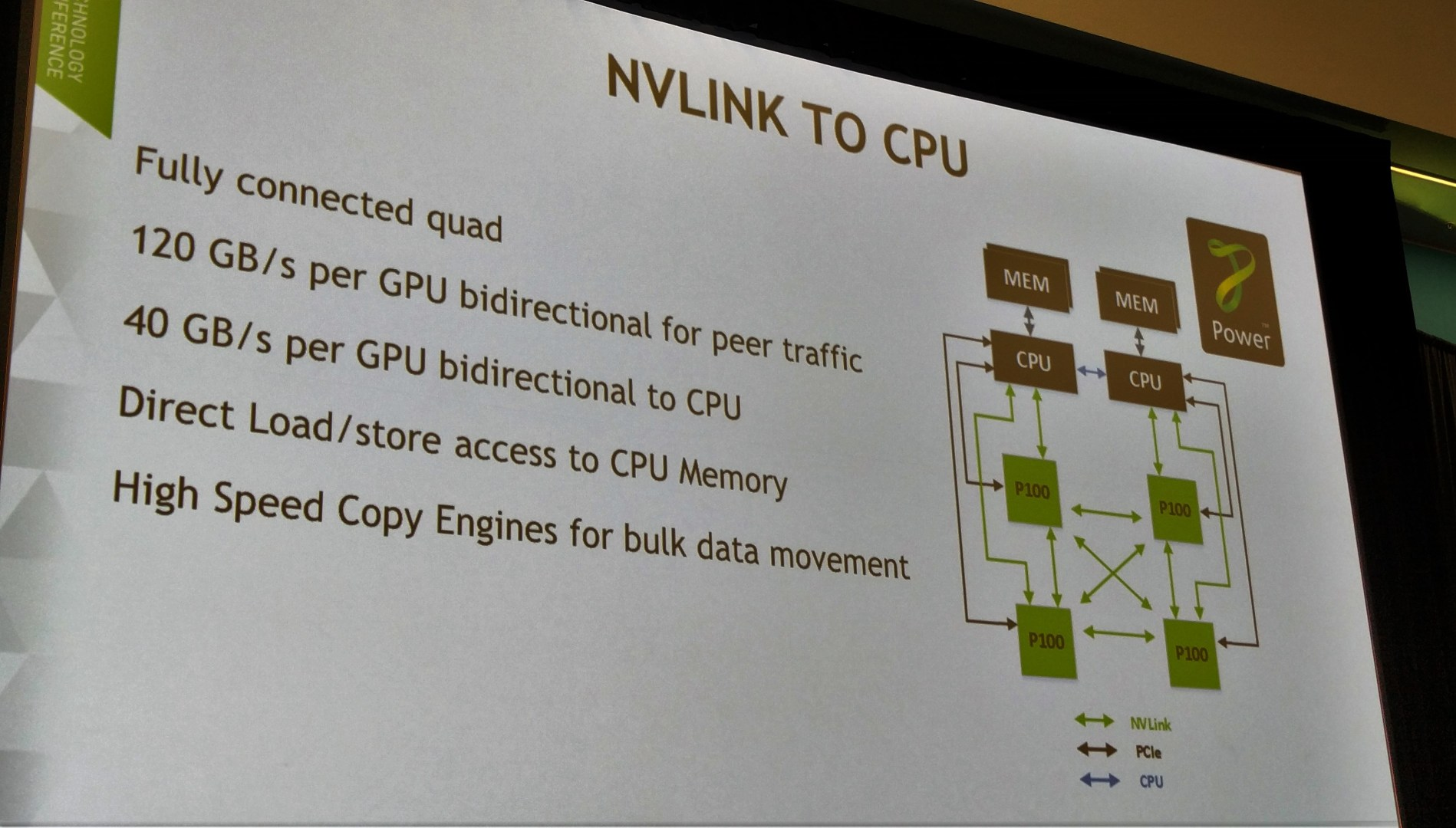 How NVLink connects to a CPU
