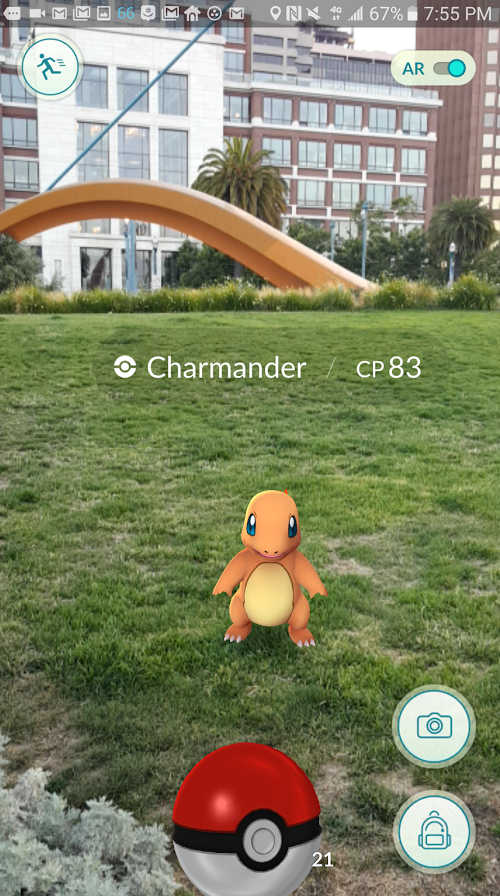 Pokemon GO in Augmented Reality Mode