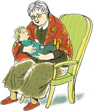 бабушка укачивает внука