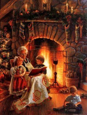 бабушка с внуками у камина
