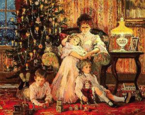 мама с детьми у новогодней елки