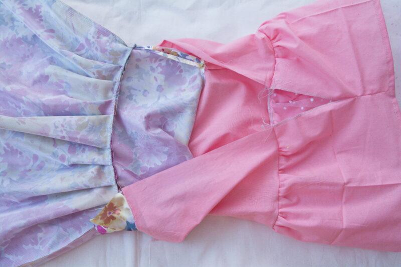 сшиваем лиф и юбку из подкладочной ткани