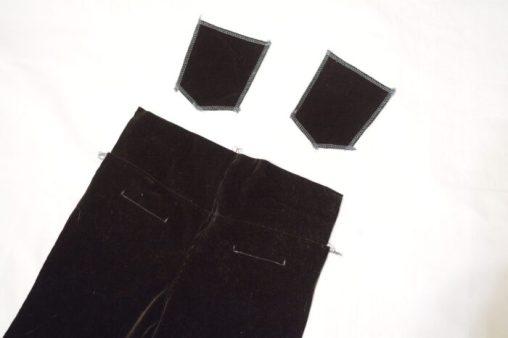 накладные задние карманы на детских штанах