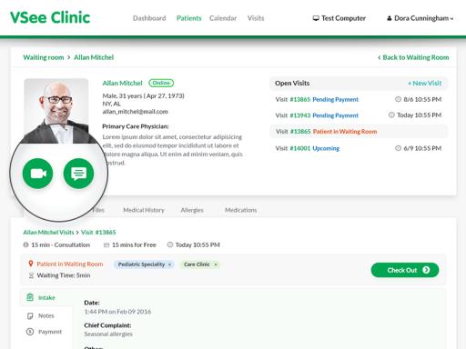 telemedicine provider dashboard VSee