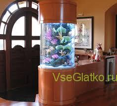 Зелень и аквариумы в интерьере.