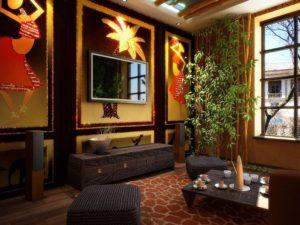 Африканский стиль в интерьере гостиной-2