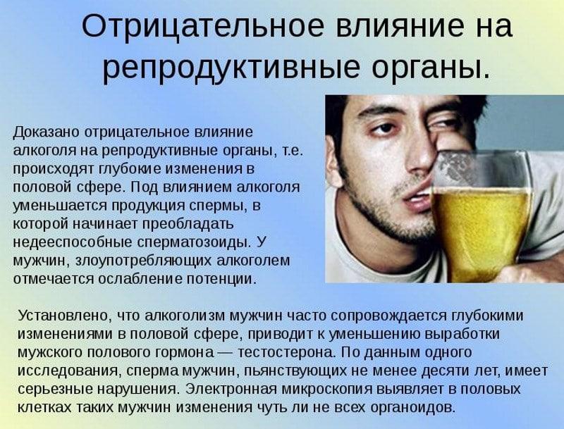Как алкоголь влияет на качество спермы, как выходит спиртное из спермы