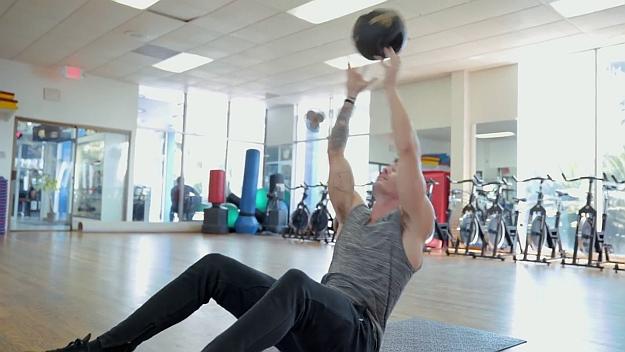 Medicine Ball Pass Sit-Up   At Home Medicine Ball Ab Workout