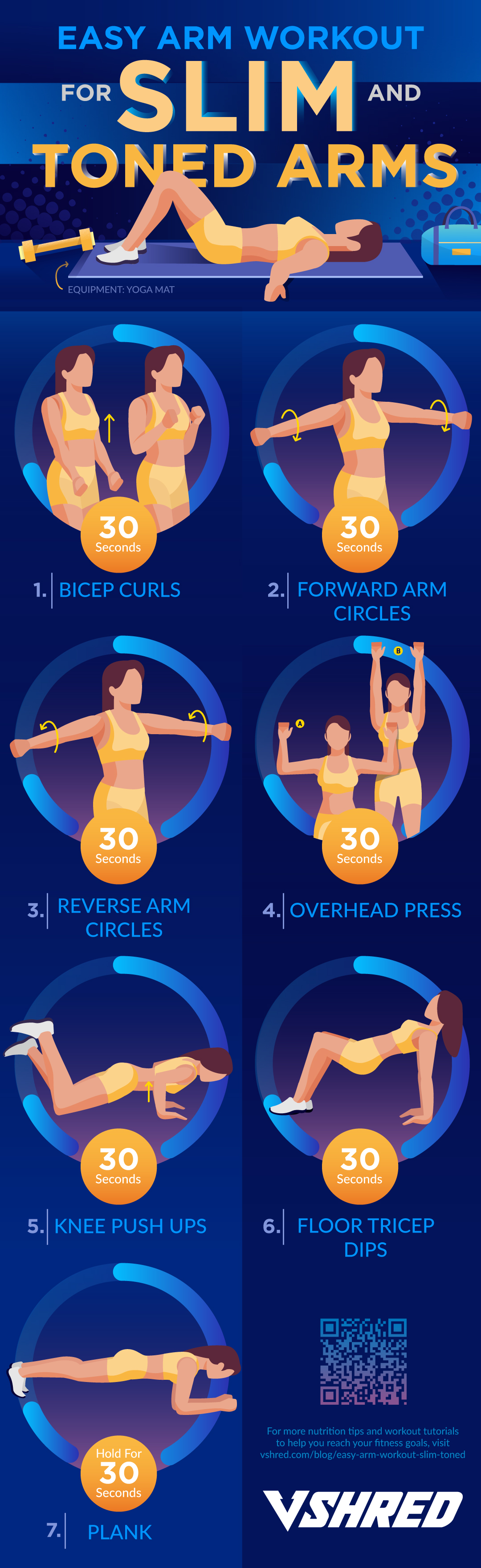 infographic | Easy Arm Workouts For Slim And Toned Arms | Best of 2018 on V Shred