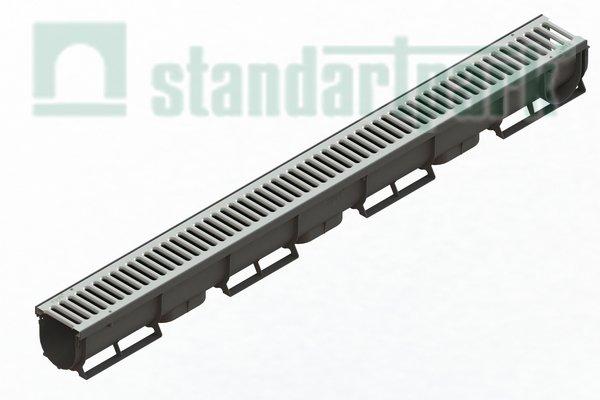 Лоток водовідвідний Spark ЛВ-07.09.09-ПП пластиковий з решіткою штампованою стальною (комплект)