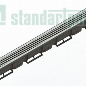 Лоток водоотводный Spark ЛВ-07.09.09-ПП пластиковый с решеткой штампованной стальной (комплект) 0880