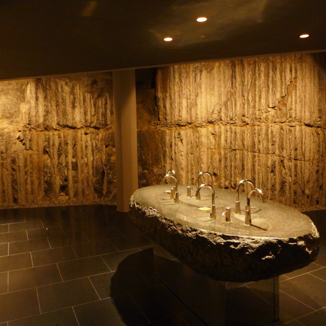 The bottom of the restaurant, the rock forms the walls of the washrooms.