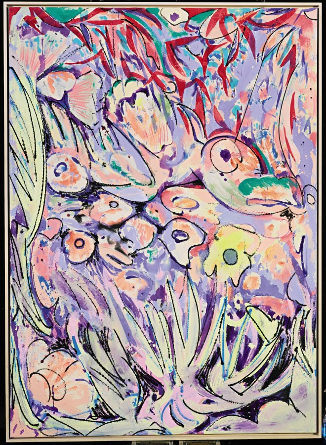 Crashing in the Chilli Bush. 2015. Acrylic on Canvas.