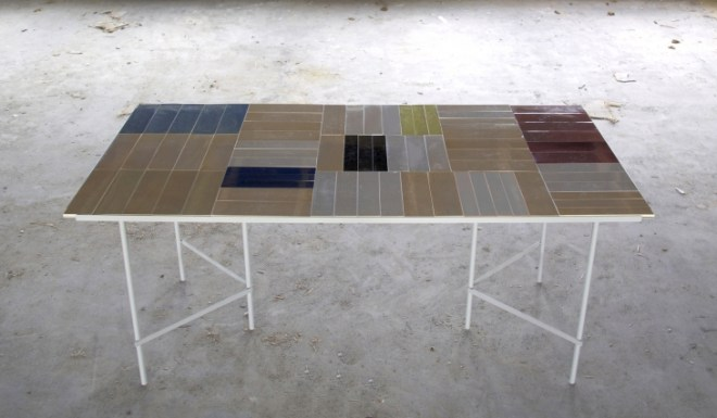 Tile Table in collaboration with Margrethe Odgaard 2014. 72 reversible wooden tiles.