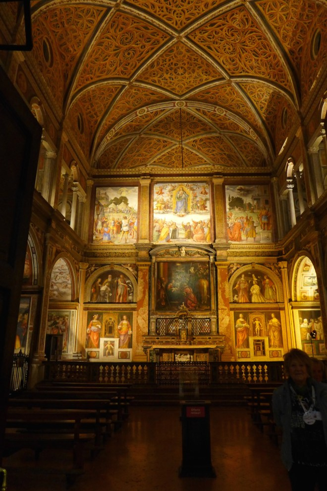 San Mauritzio from the doorway at night.