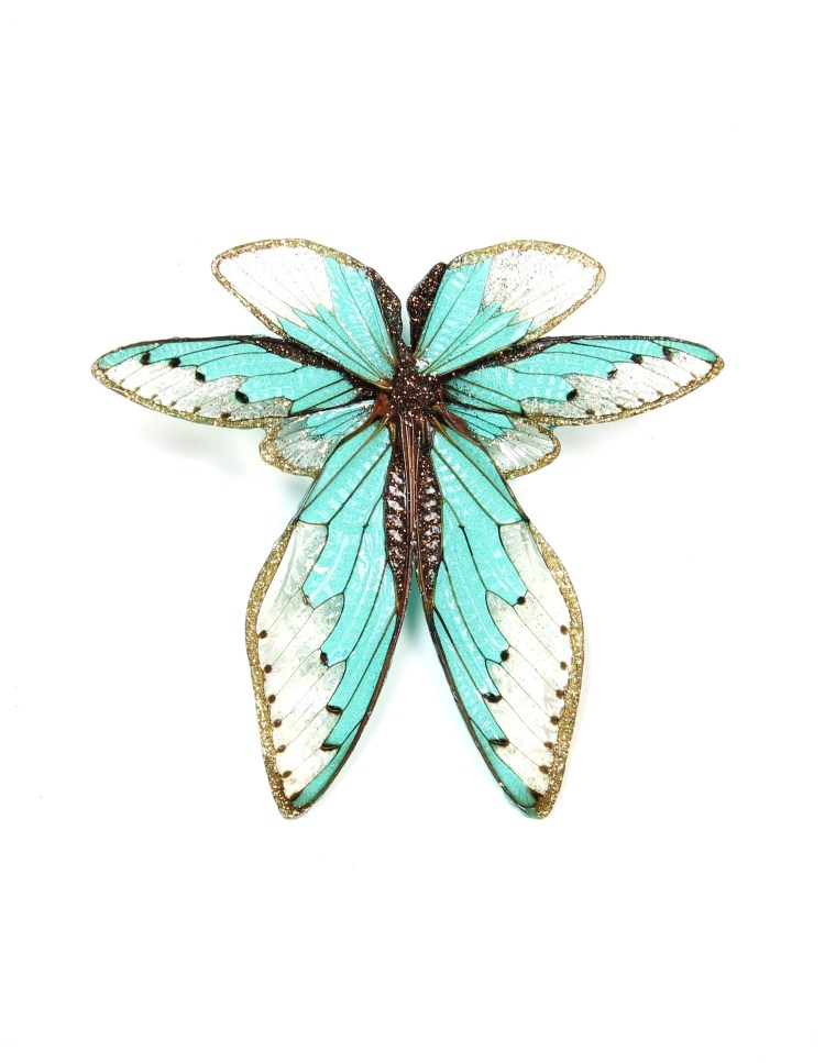 Märta Mattsson. Wings - Brooch. Cicada wings, resin, pigments, silver.