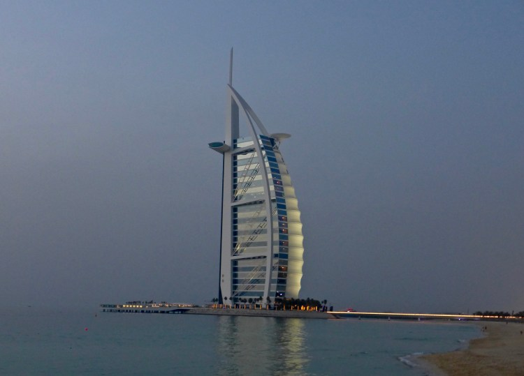 Dubai's iconic Burj al Arab at sunset.