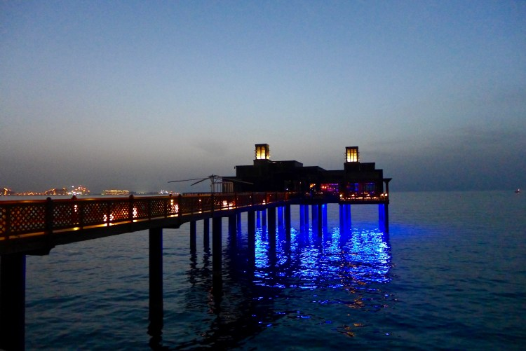 The restaurant Pierchic, in the distance you are able to see Palm Jumeirah and Atlantis.