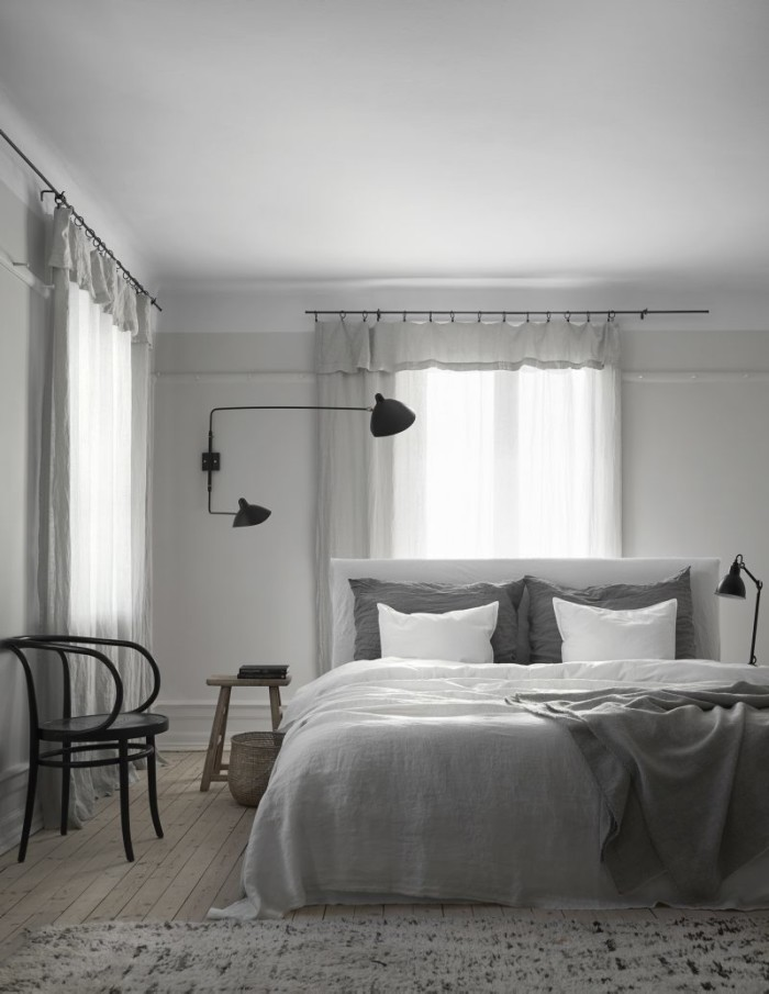 Cotton and linen bedding from Society and lamp from Serge Mouille.