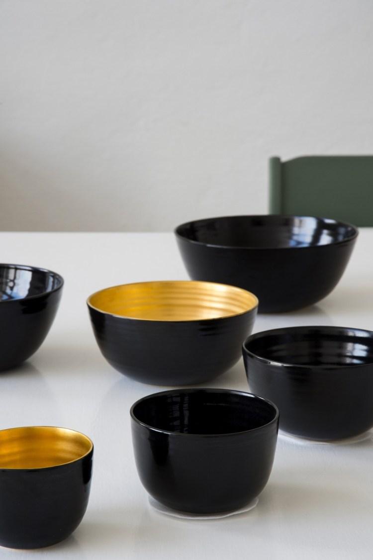 Gilded Ceramic Bowls. Ingegerd Råman