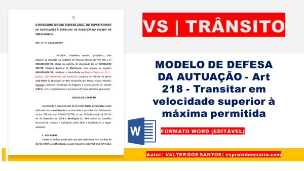 DEFESA DA MULTA - Transitar em velocidade superior à máxima permitida para o local, quando a velocidade for superior à máxima em mais de 50%