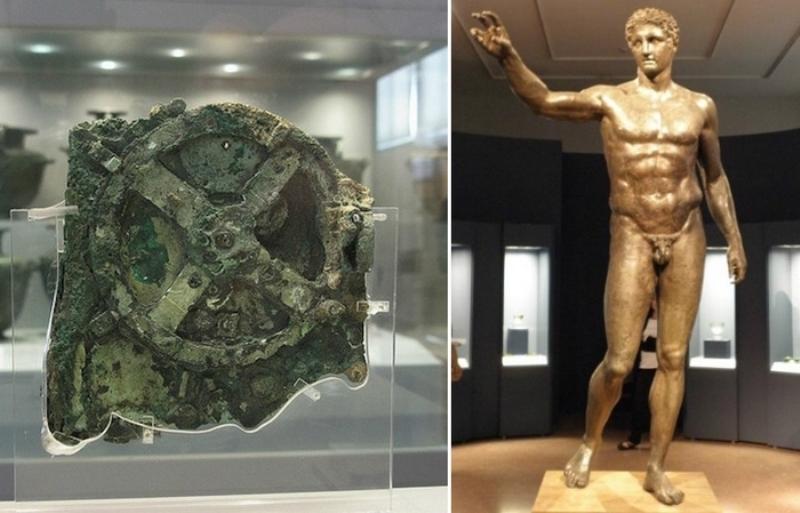 Антикітерський механізм і бронзова статуя із затонулого корабля.
