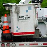 A Fairpoint Communications truck makes its way down State Street in Montpelier. VTD/Josh Larkin