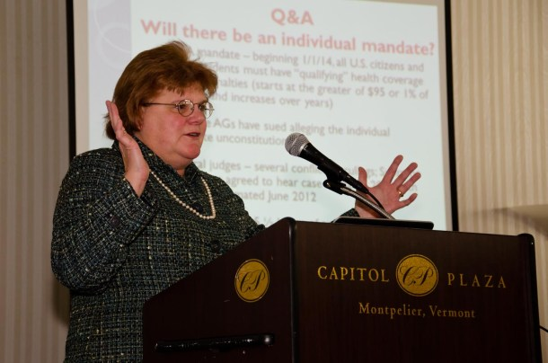 Susan Gretkowski, an attorney with the government and public relations firm Maclean, Meehan & Rice, briefs employers on the impacts of health care reform Wednesday in Montpelier. VTD/Josh Larkin