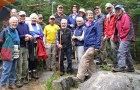 Oldest of the several dozen hikers who climbed Ascutney for the ATA's picnic was Heinz Trebitz, 83, of Thetford, pictured in the center above. Youngest was Kip Gaddis, 10, of Windsor (not pictured). Photo by M. Dickey Drysdale