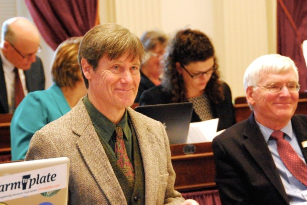 Rep. Chip Conquest, D-Wells River, reported the DLS bill on the House floor Tuesday. Photo by Elizabeth Hewitt/VTDigger