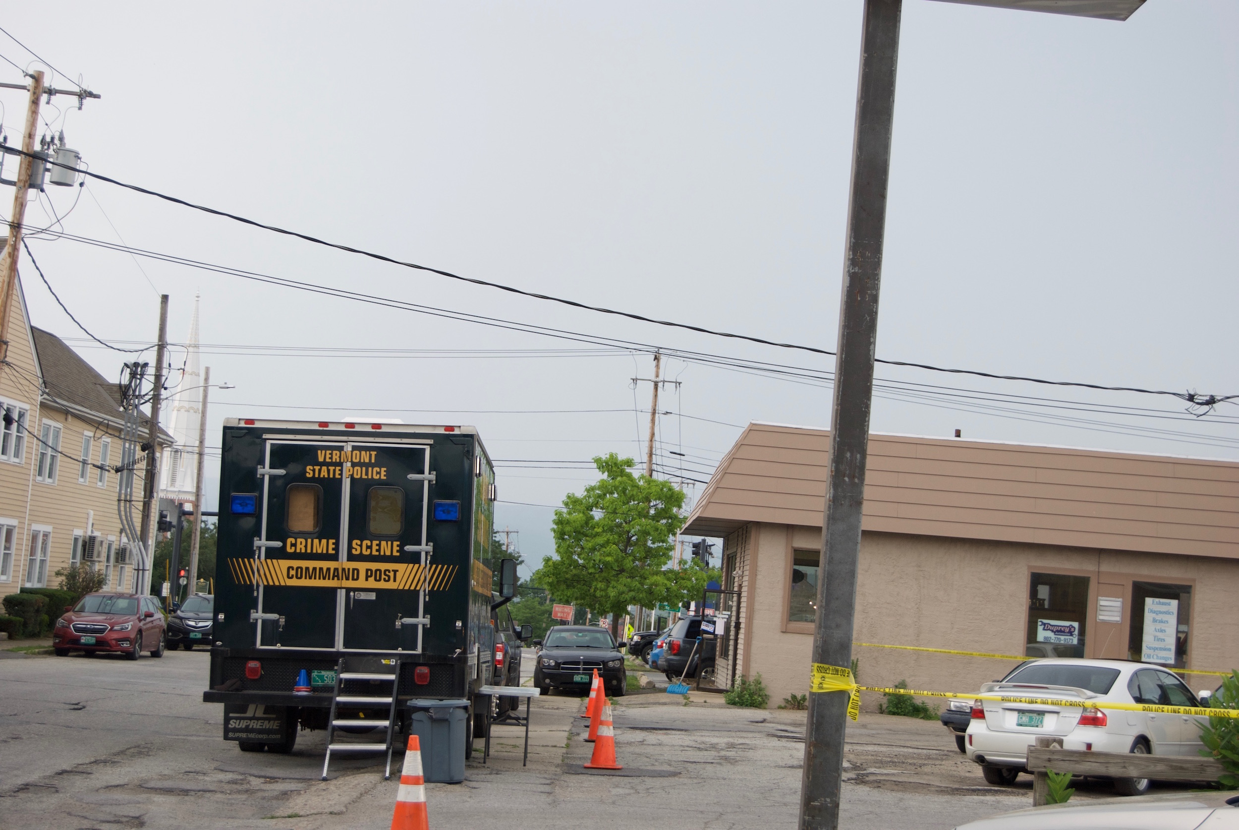 Investigators for the Vermont State Police were on the scene of an officer-involved shooting in Rutland City early Wednesday. Photo by Emma Cotton/VTDigger