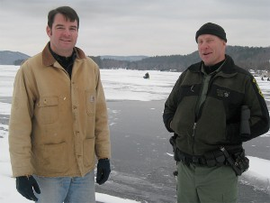 Commissioner Berry and Game Warden Greg Eckhardt on the Lake Bomoseen ice. Photo by Dennis Jensen.