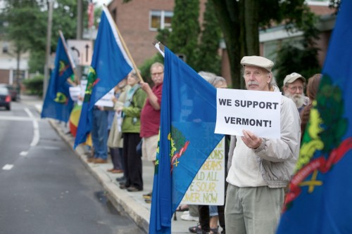 Thursday's Safe & Green Vigil outside the U.S. Federal Courthouse in Brattleboro, Vermont. Photo by David Shaw, The Commons
