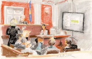 Court drawing from the first round of hearings. Deb Lazar/The Commons