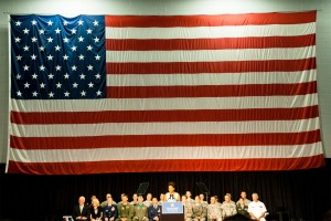 Michelle Obama speaking in South Burlington on Thursday. Photo by Ian Thomas Jansen-Lonnquist.