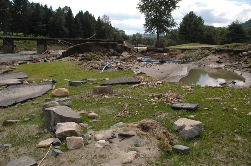 Debris litters the 18-hole Lakeland Golf Course at Quechee Village, which is now closed for the year after extensive damage from tropical storm Irene. VTD/Andrew Nemethy