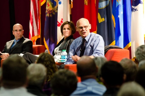 James Carville, right, and Mary Matilin spoke at Norwich University's Todd Lecture Series. Norwich Associate Professor Jason Jagemann, left, moderated the discussion. VTD/Josh Larkin.