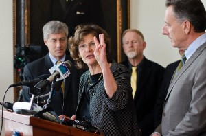 COTS Executive Director Rita Markley speaking to reporters during Gov. Shumlin's weekly press conference. VTD/Josh Larkin