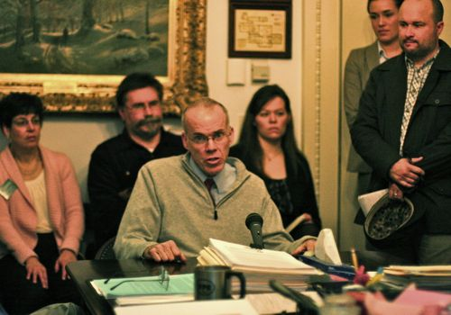 Bill McKibben testifies in favor of a ban on hydraulic fracturing in Vermont. Photo by Alan Panebaker