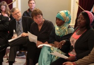 Claudine Nkurinziza, far right, addresses race issues in Burlington schools with members of the House Education Committee in April. Photo by Taylor Dobbs