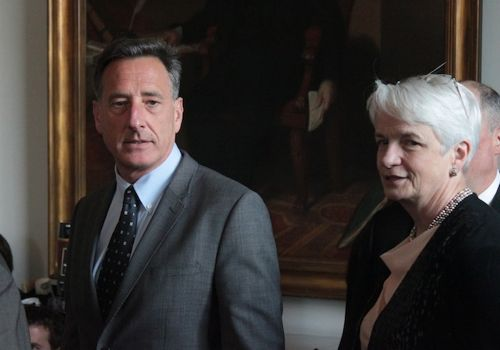 Gov. Peter Shumlin appears at a press conference with Administrative Judge Amy Davenport. Photo by Taylor Dobbs