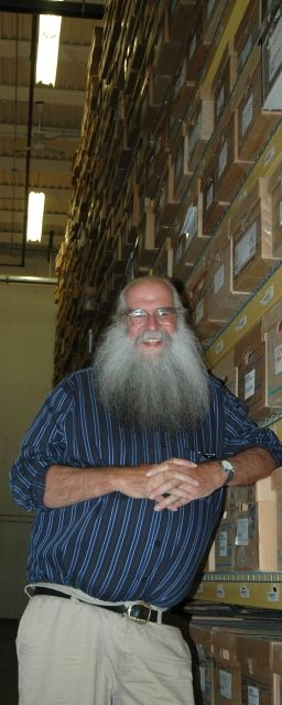 State Archivist Gregory Sanford in the archival stacks that house 97,000 boxes of Vermont records.  Photo by Andrew Nemethy