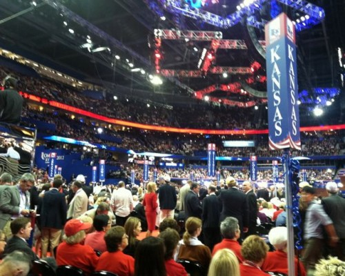 The view from the Vermont seats at the Republican National Convention. Courtesy photo by Craig Bensen.