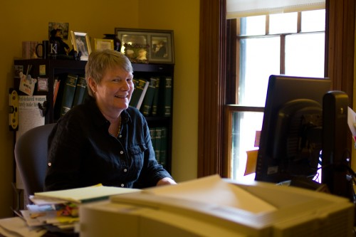 Kathy Scheele, director of elections, sits in her office in Montpelier. Photo by Nat Rudarakanchana