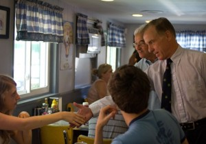Howard Dean campaigns with Bill Sorrell in Burlington on Aug. 27, the day before the Vermont primary. Photo by Nat Rudarakanchana