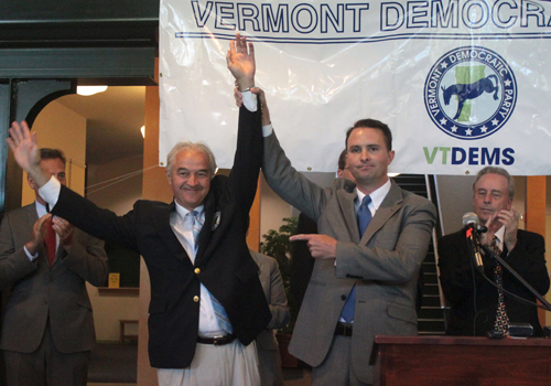 Attorney General Bill Sorrell and Chittenden County State's Attorney TJ Donovan, who challenged him in the primary but conceded Wednesday morning, made a show of unity at the Democratic Party's unity rally. VTD Photo/Taylor Dobbs